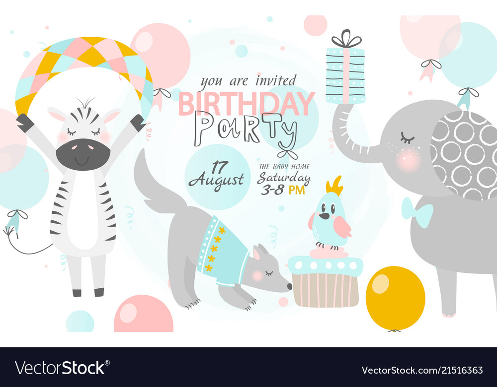 Birthday Invitation With Cute Zebra Dog And