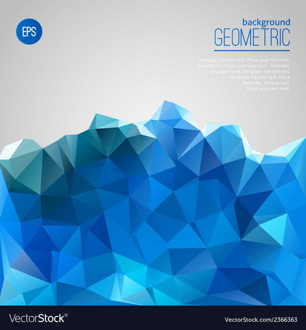 Blue mountain of triangles geometric template