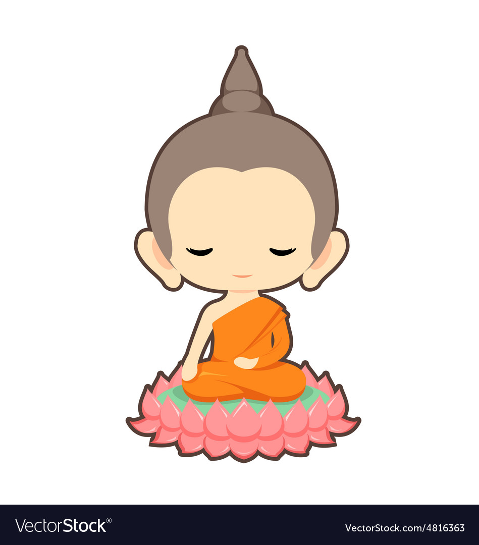 Buddha sitting on lotus flower character design vector image izmirmasajfo