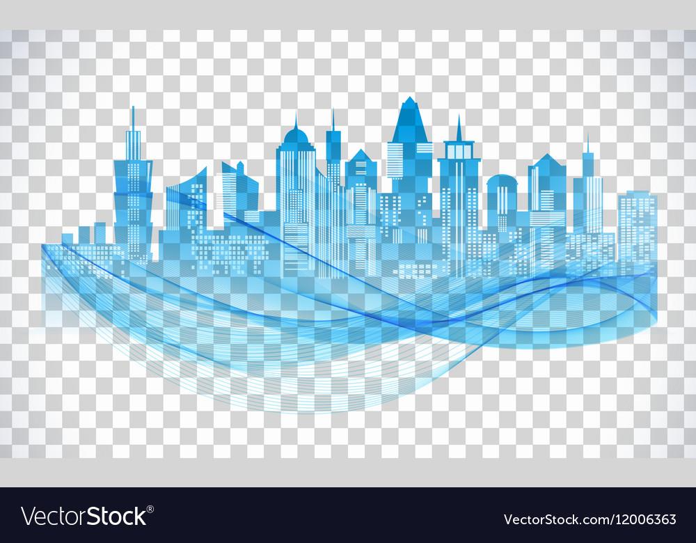 Cityscape Blue Icon On Transparent Background