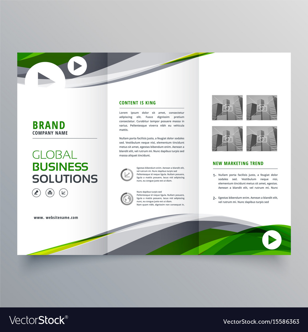 creative trifold brochure design with green and vector image