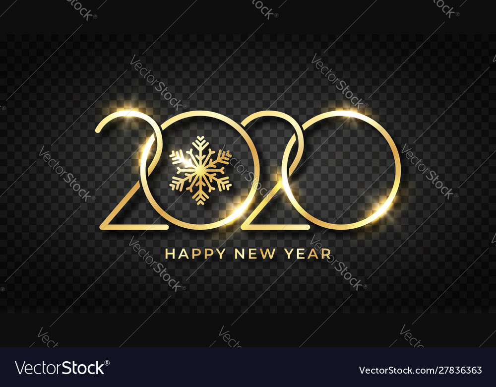 Happy new 2020 year shiny gold text and snowflake