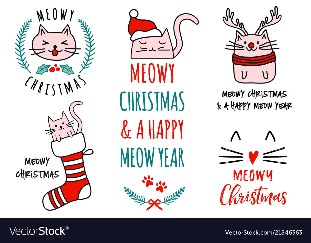 Meowy Christmas.Meowy Christmas With Cute Cats Set