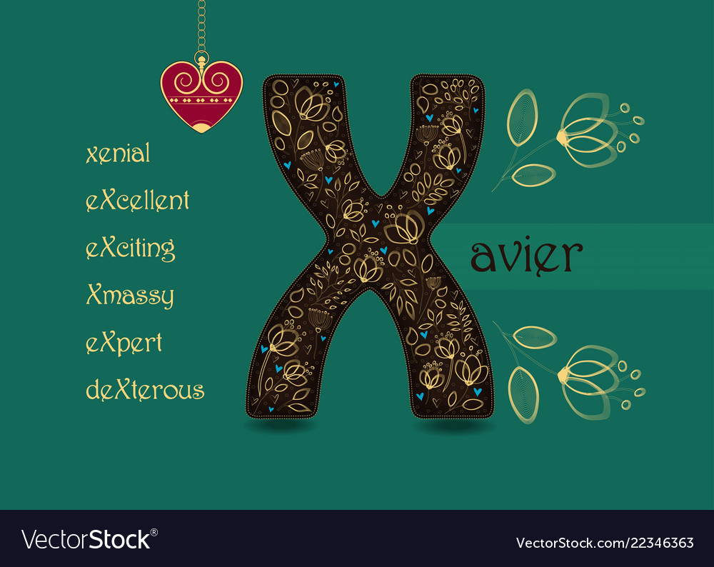 Name day greeting card with flowers and letter x vector image m4hsunfo