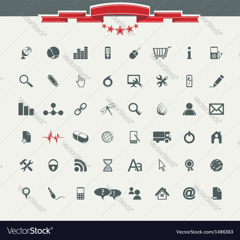 Quality icon Set Service Medical Media Mail Mobile