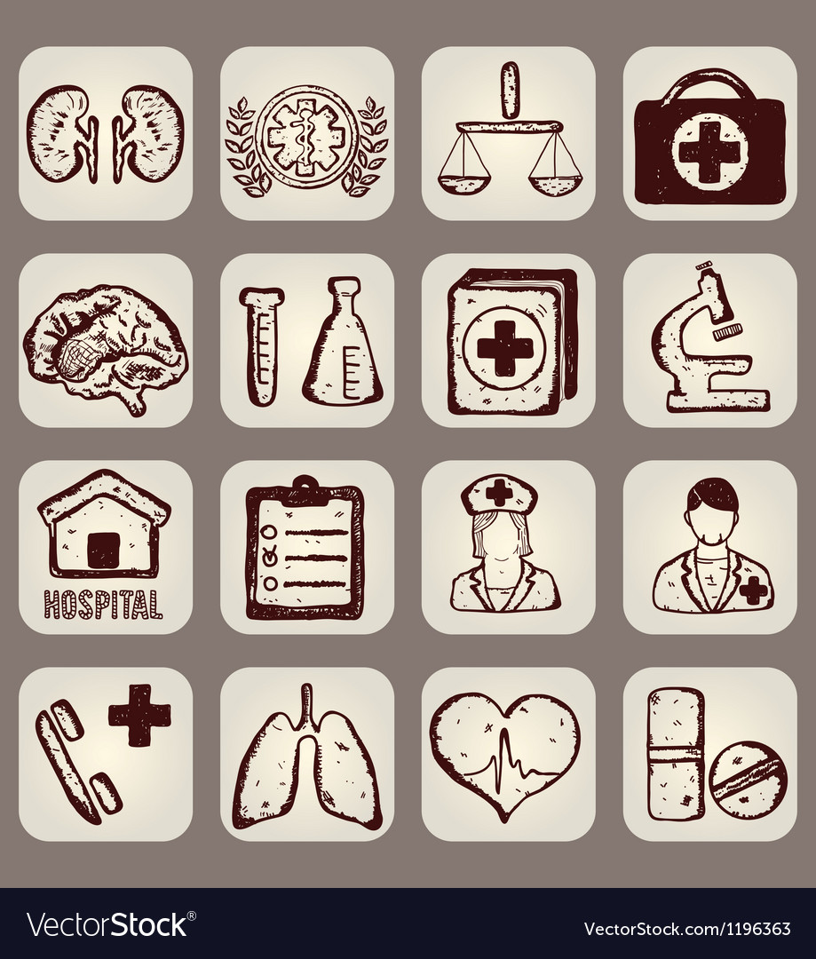 Set of calligraphic medical icons vector image