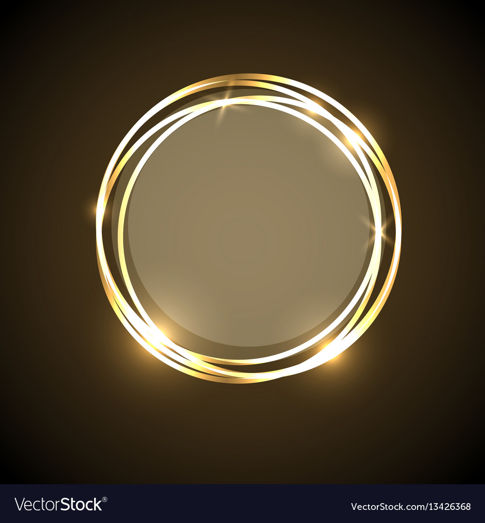Abstract background with gold neon circles banner