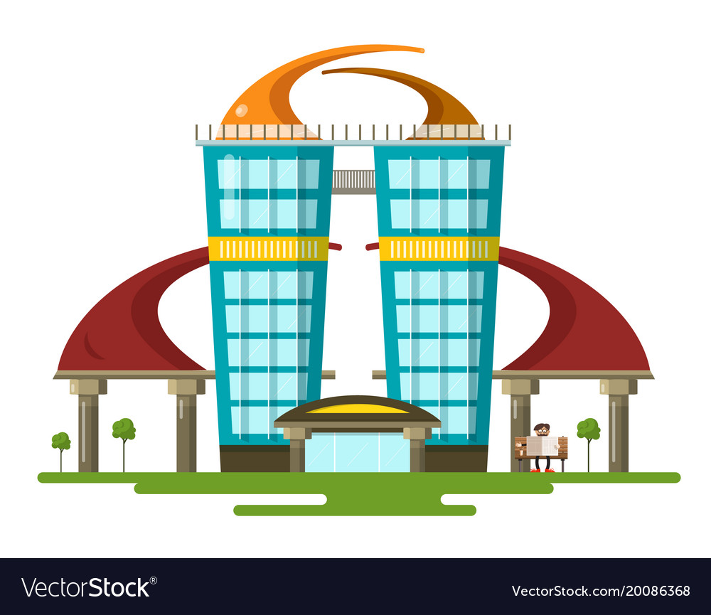 Abstract modern flat design building