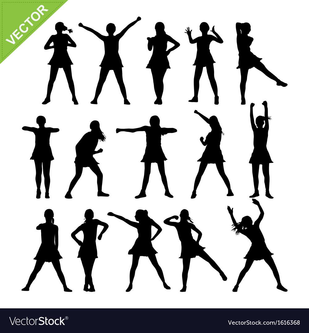 Aerobic dance silhouettes