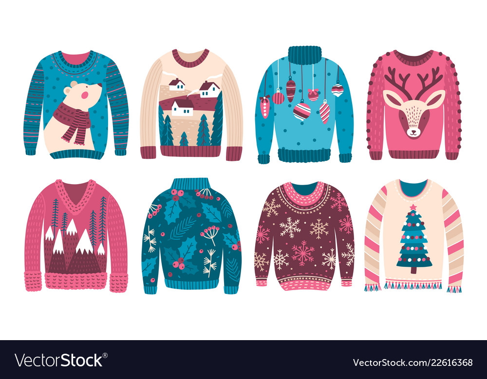 Ugly Christmas Sweaters.Bundle Of Ugly Christmas Sweaters Or Jumpers