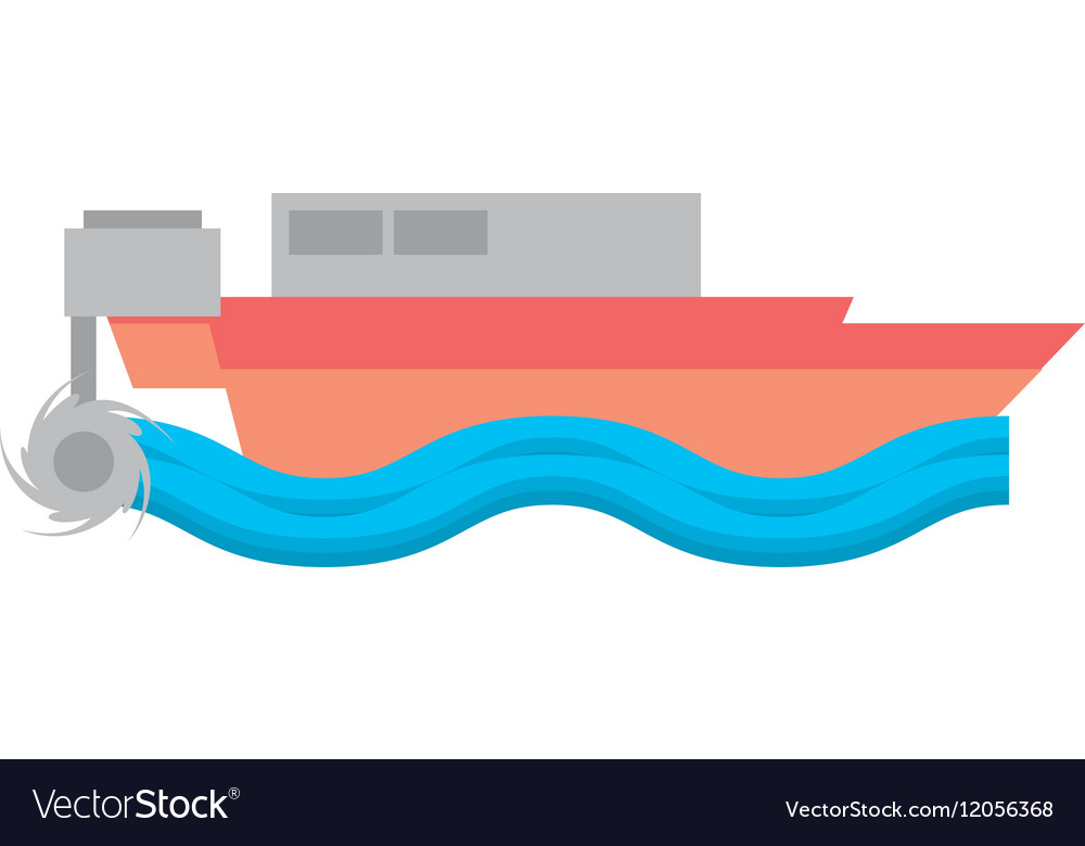 Cartoon boat beach sea wave