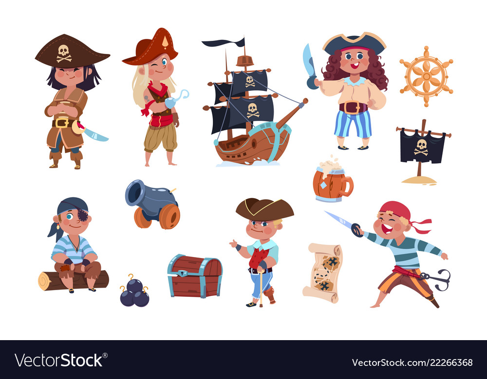 Cartoon pirates funny pirate captain and sailor