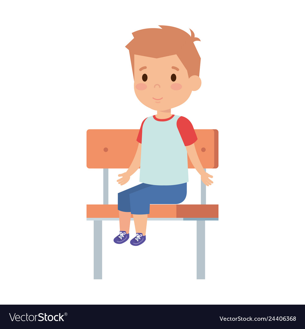 Marvelous Cute Little Boy Sitting In Schoolchair Gmtry Best Dining Table And Chair Ideas Images Gmtryco