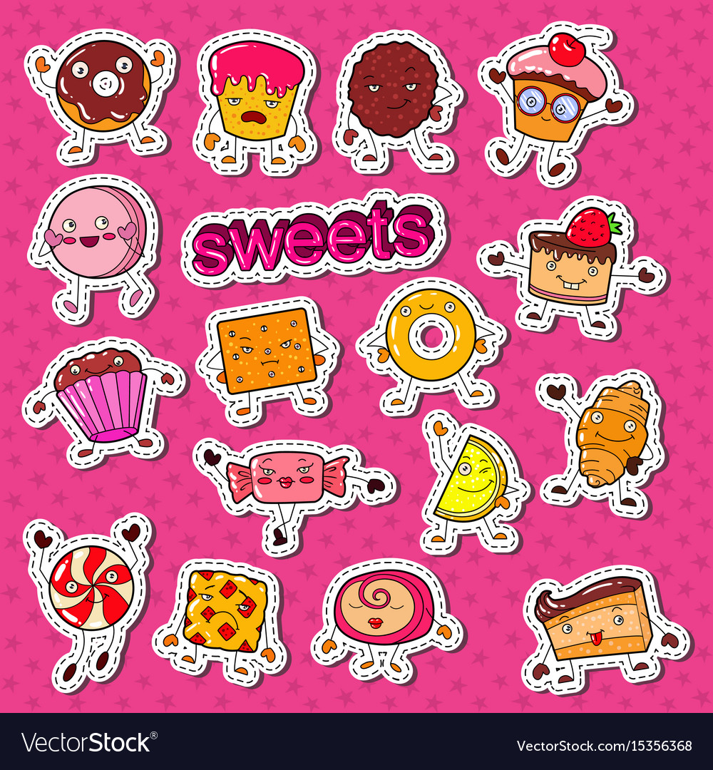 Cute sweet food candy characters doodle