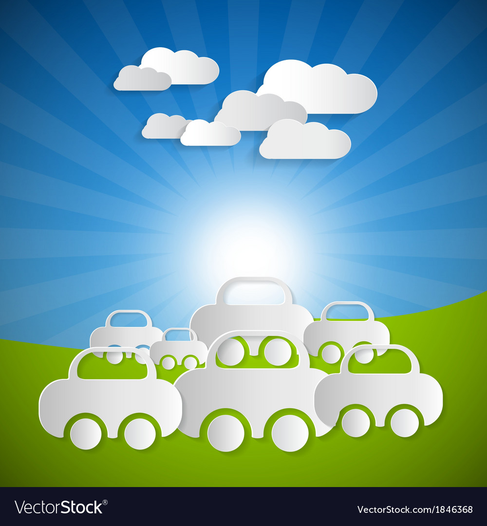 Landscape Background With Paper Cars and Clouds on