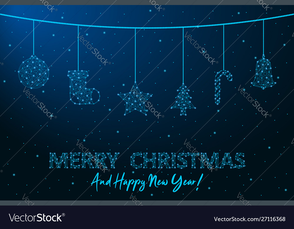 Merry christmas and happy new year low poly