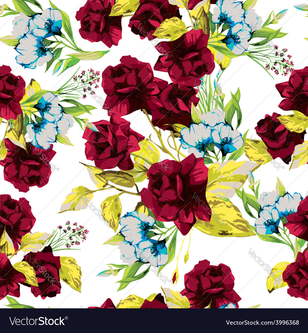 Seamless floral pattern with red roses on white