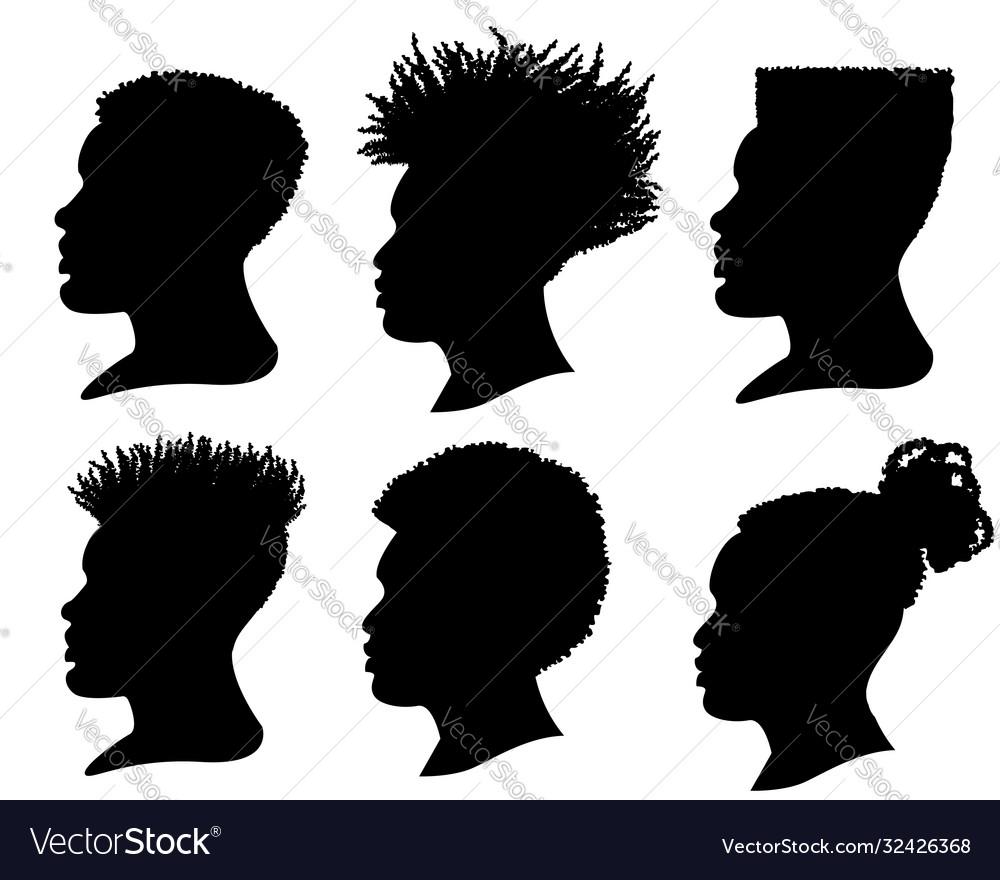 Silhouette african american men profile portrait