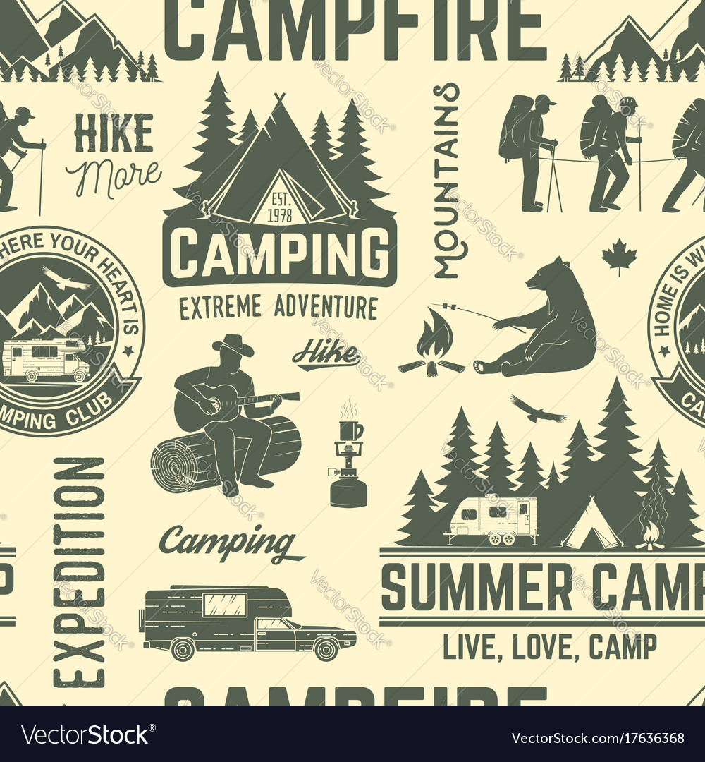 Summer camp seamless pattern or background