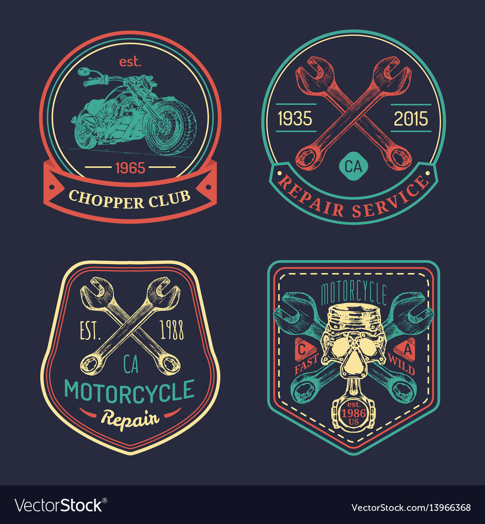 Vintage biker club signs motorcycle repair