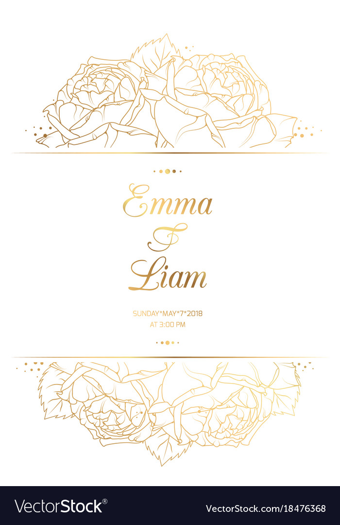 Wedding invitation card template rose flowers gold