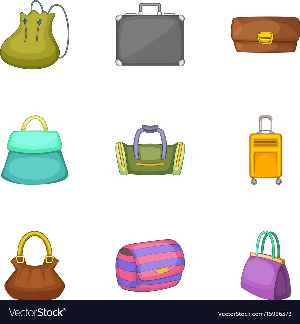 Bags for all occasions icons set cartoon style