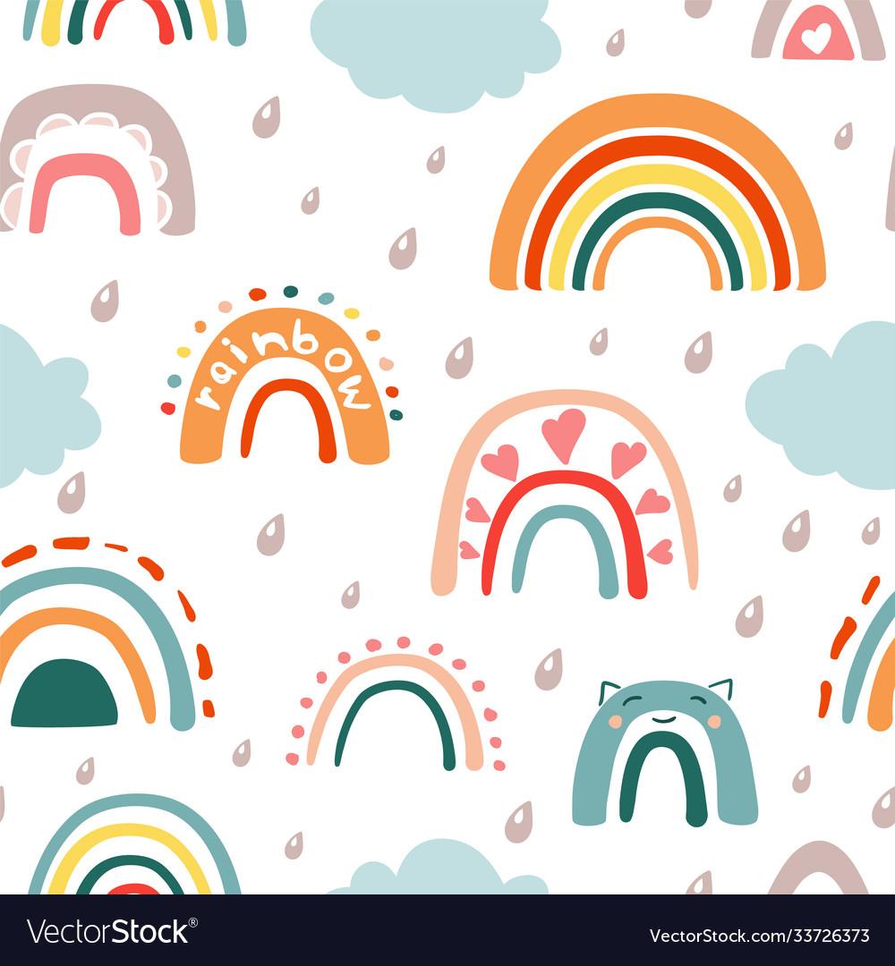 Doodle rainbow with rain seamless pattern