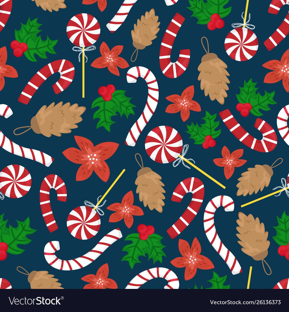 Flat cartoon new year seamless pattern
