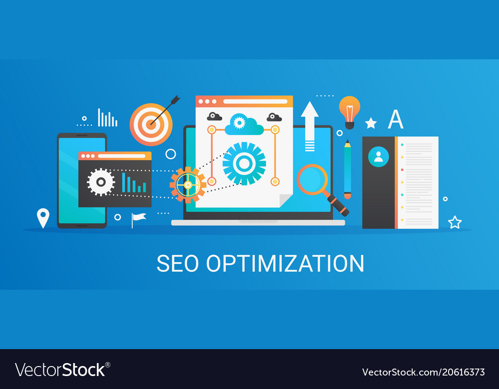 Flat modern concept seo optimization and