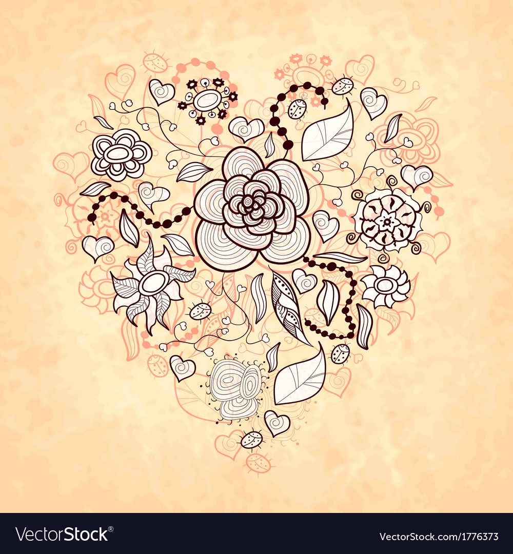Floral doodle heart flowers leaves