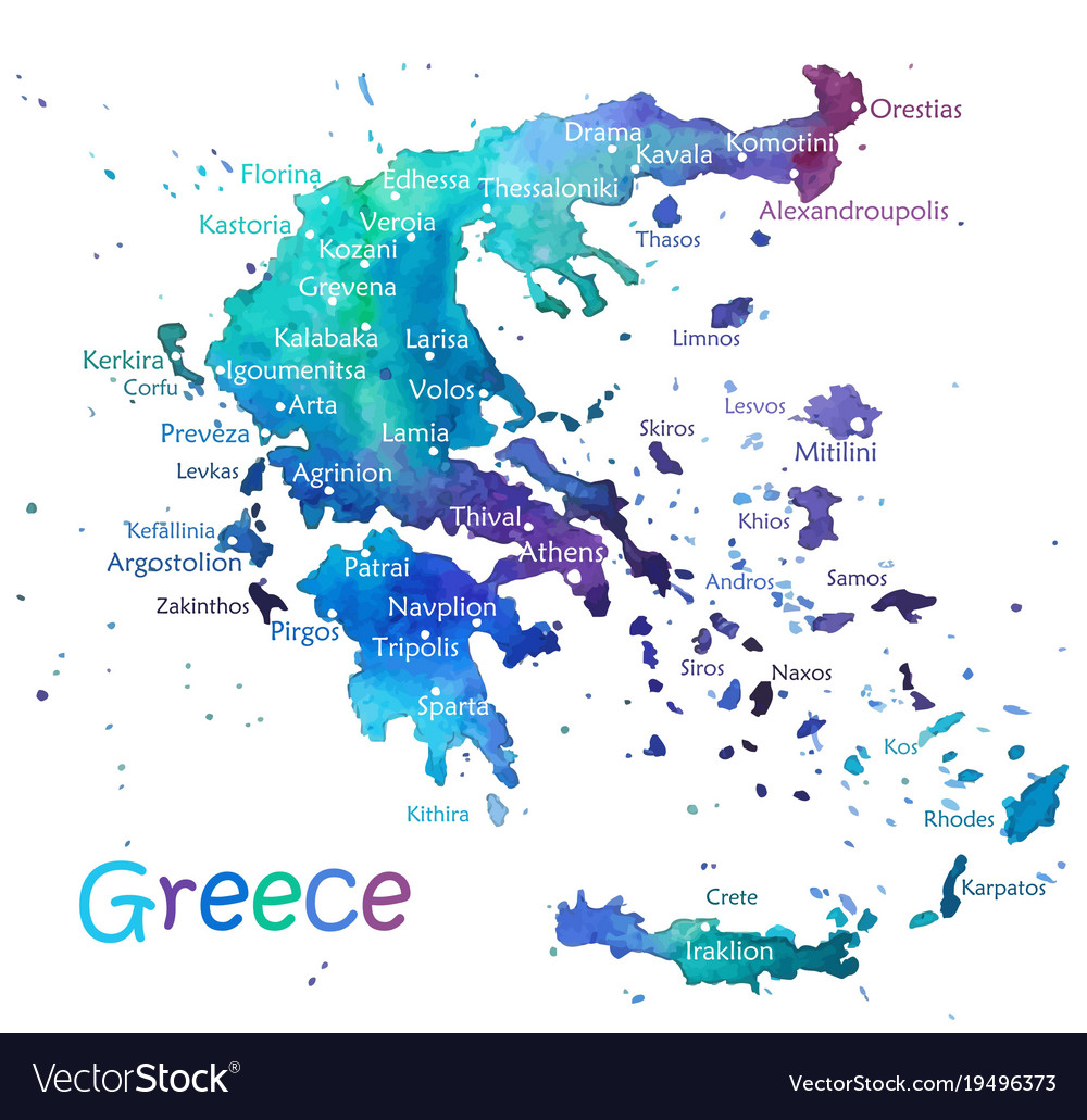 hand drawn watercolor map greece royalty free vector image