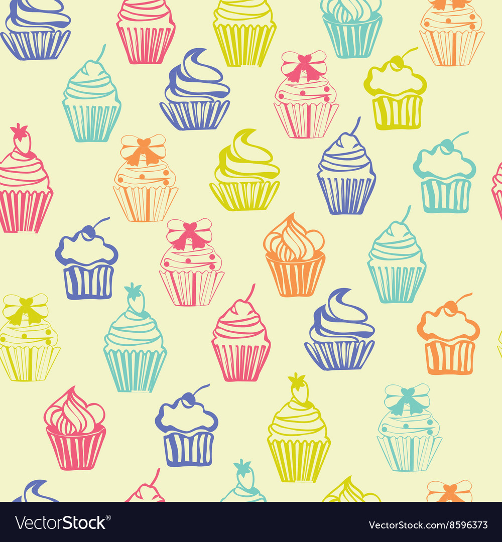 Outlined colorful seamless pattern with cupcakes