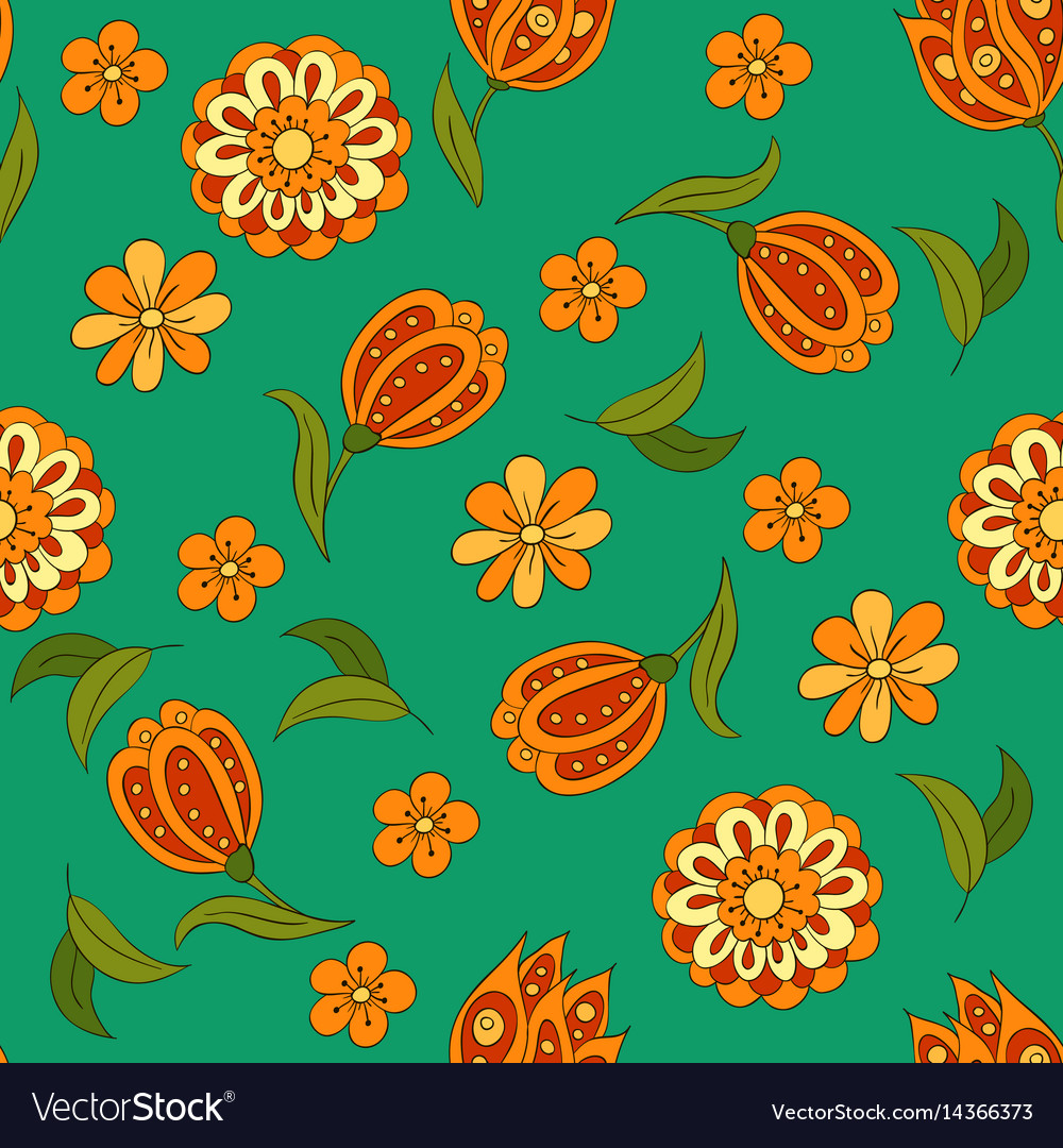 Seamless pattern with spring flowers cover vector image mightylinksfo