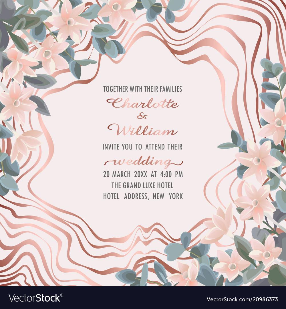 Wedding invitation with eucalyptus and flowers