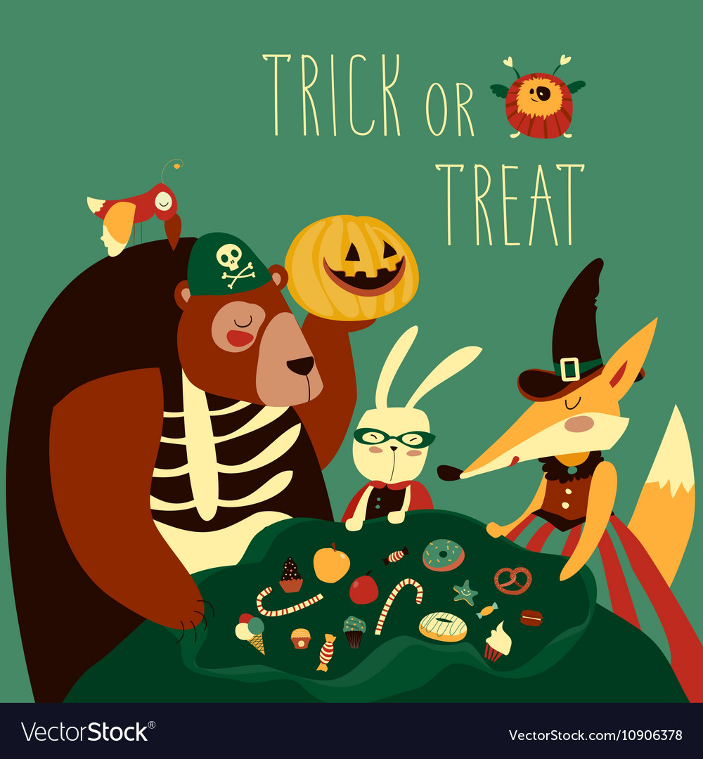 Animals in Halloween costume vector image  sc 1 st  VectorStock & Animals in Halloween costume Royalty Free Vector Image