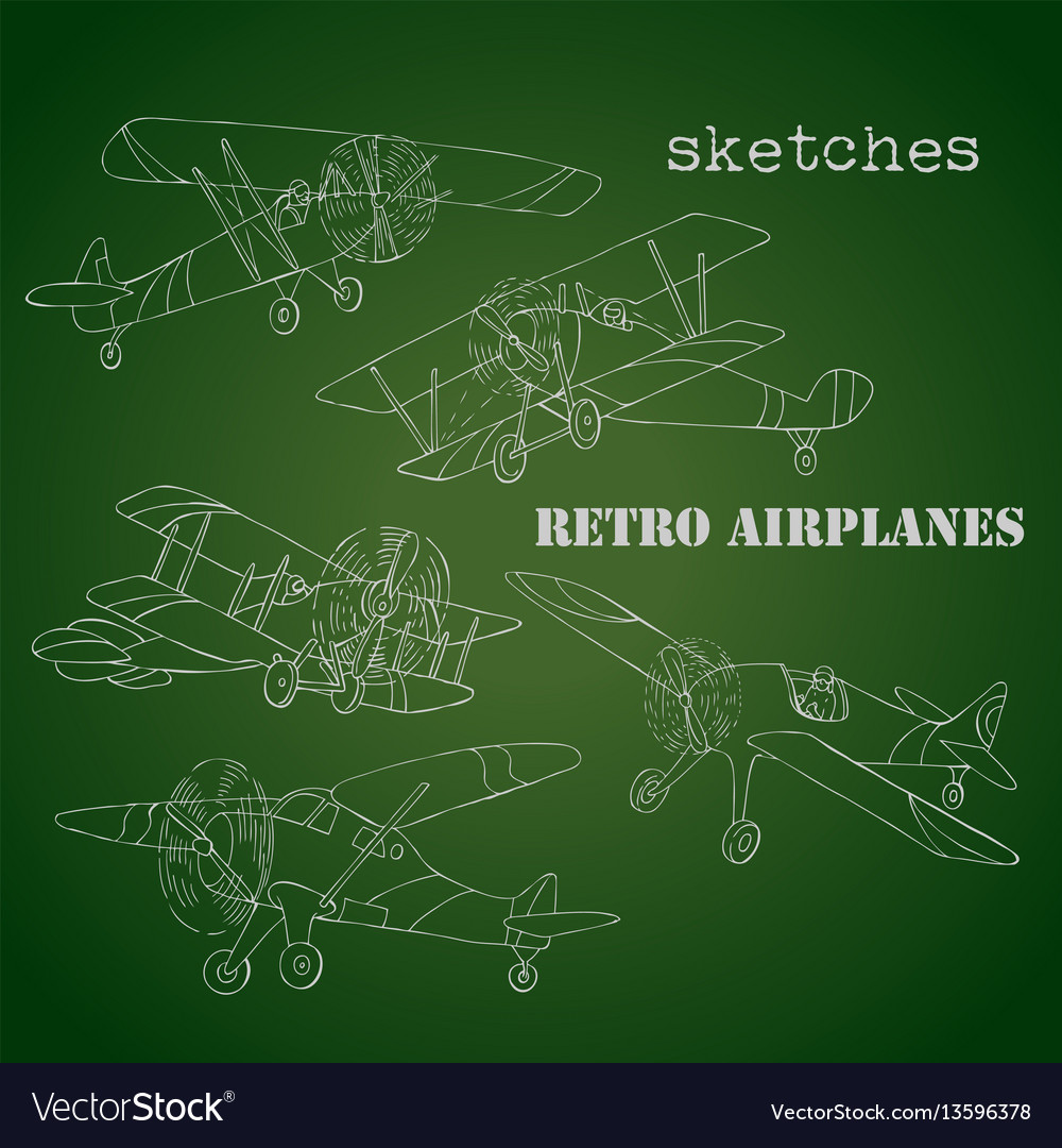 Background with retro airplanes