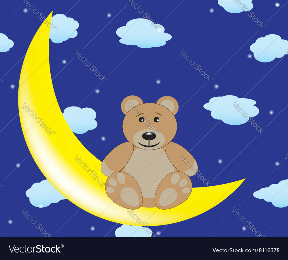 Bear is sitting on the moon