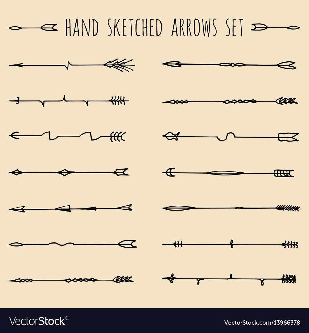 Big set hand drawn ethnic tribal arrows