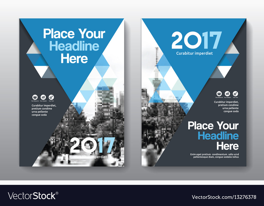 Blue color scheme business book cover design vector image