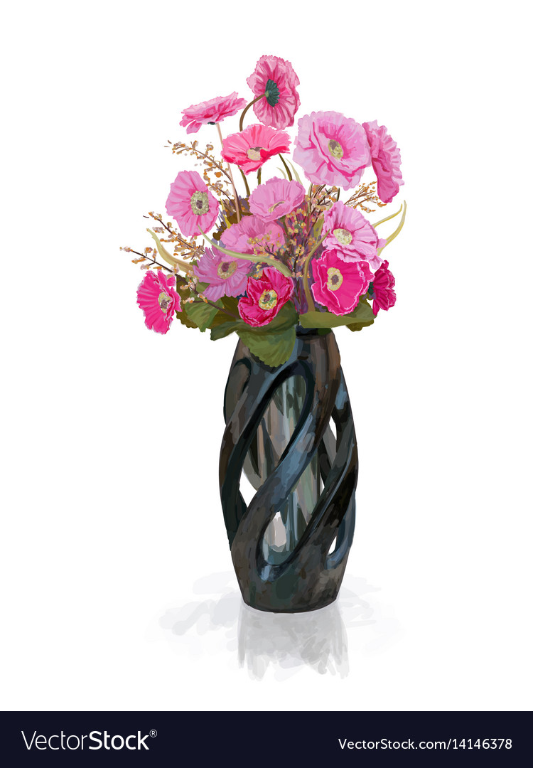 Bouquet Pink Flower In Vase With Reflect Shadow Vector Image