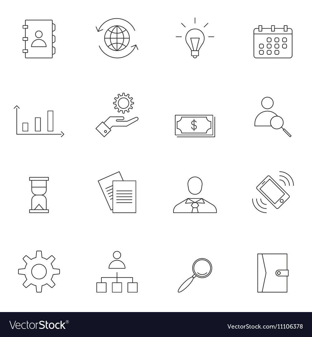 Business icon set outline