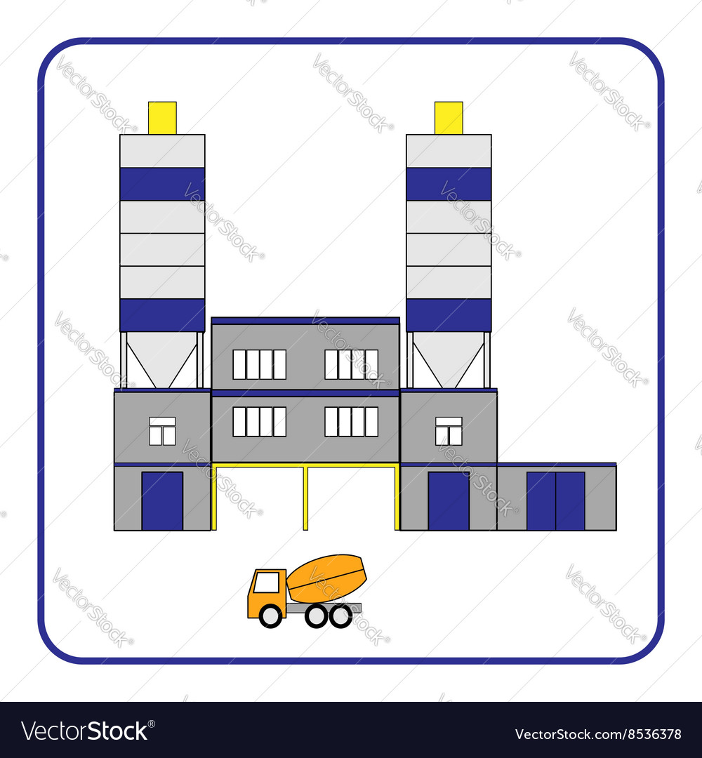 Concrete production plant icon with truck in the