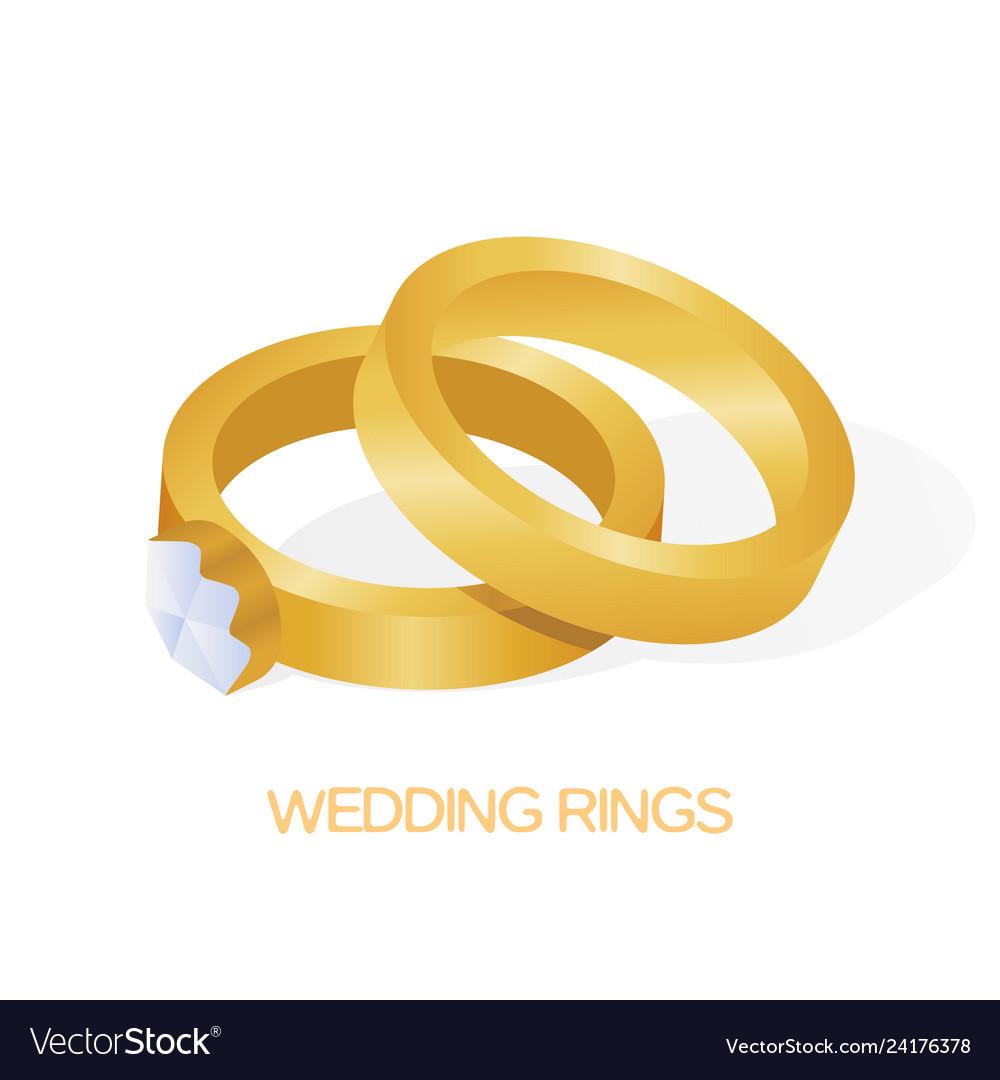 Golden wedding couple ring with big shiny diamond