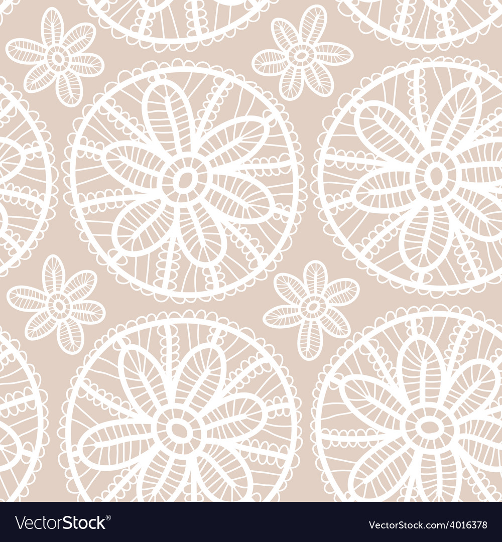 Lace fabric seamless pattern with white flowers on