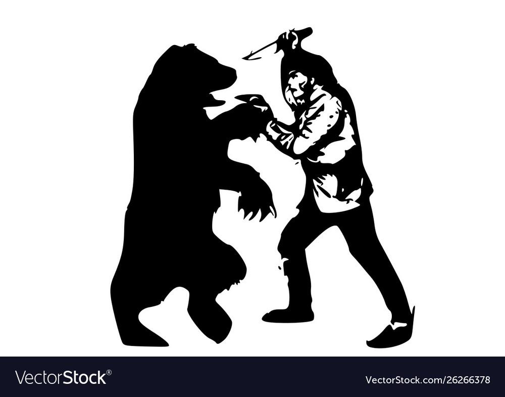 man vs bear royalty free vector image - vectorstock  vectorstock