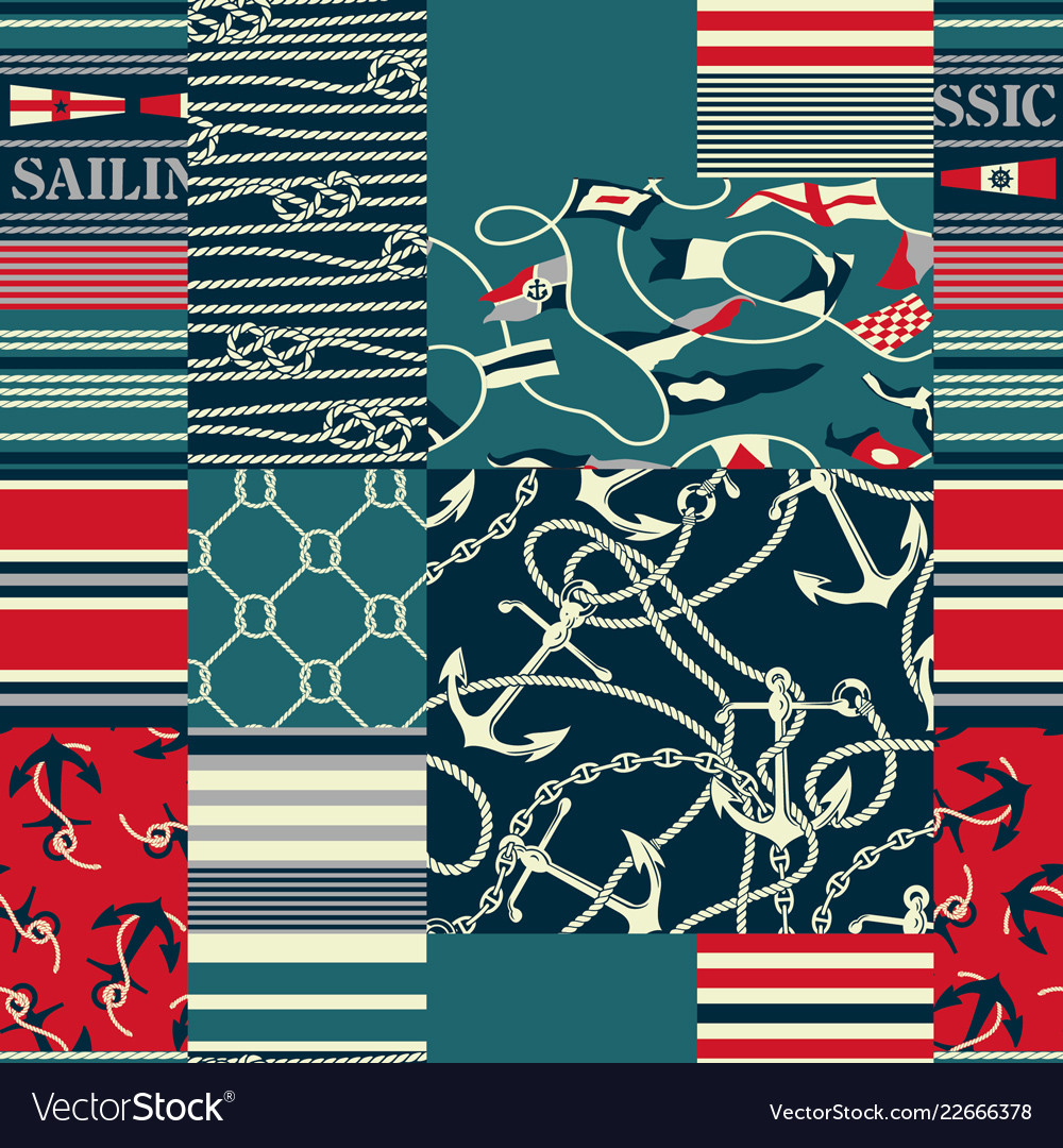 Nautical and marina elements patchwork wallpaper