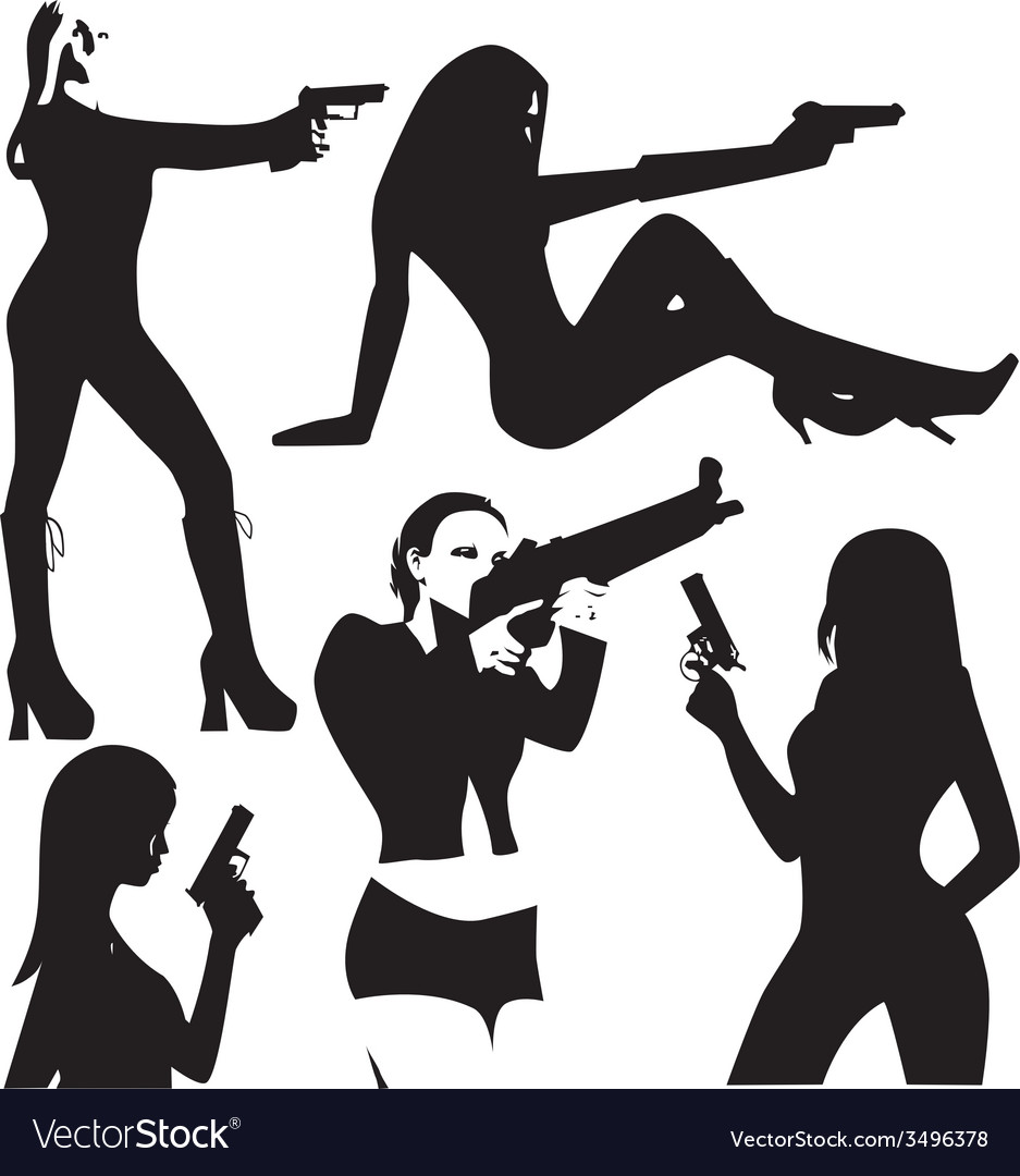 Set of sexy woman silhouette with gun