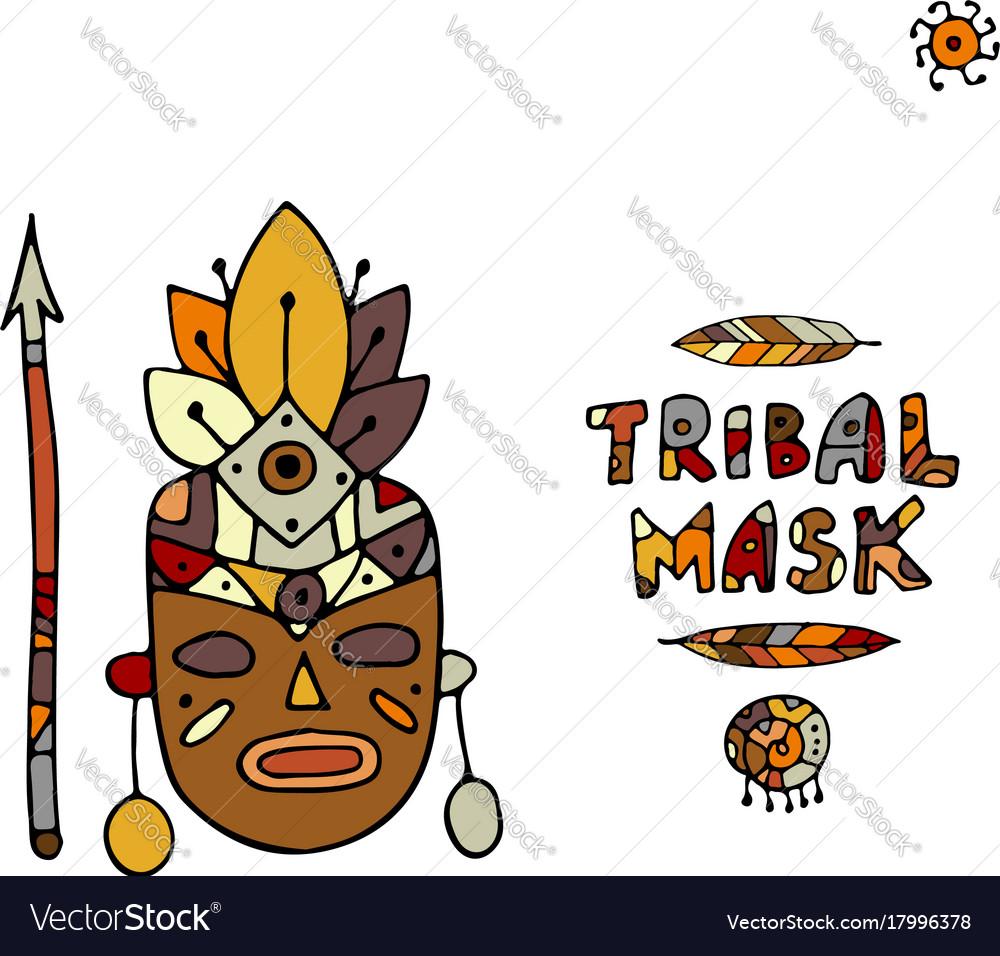 Tribal mask ethnic sketch for your design