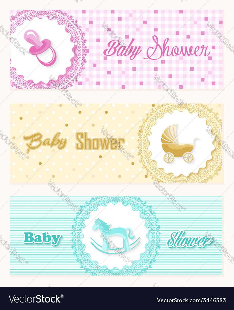 Baby Shower Banner Set Design Royalty Free Vector Image