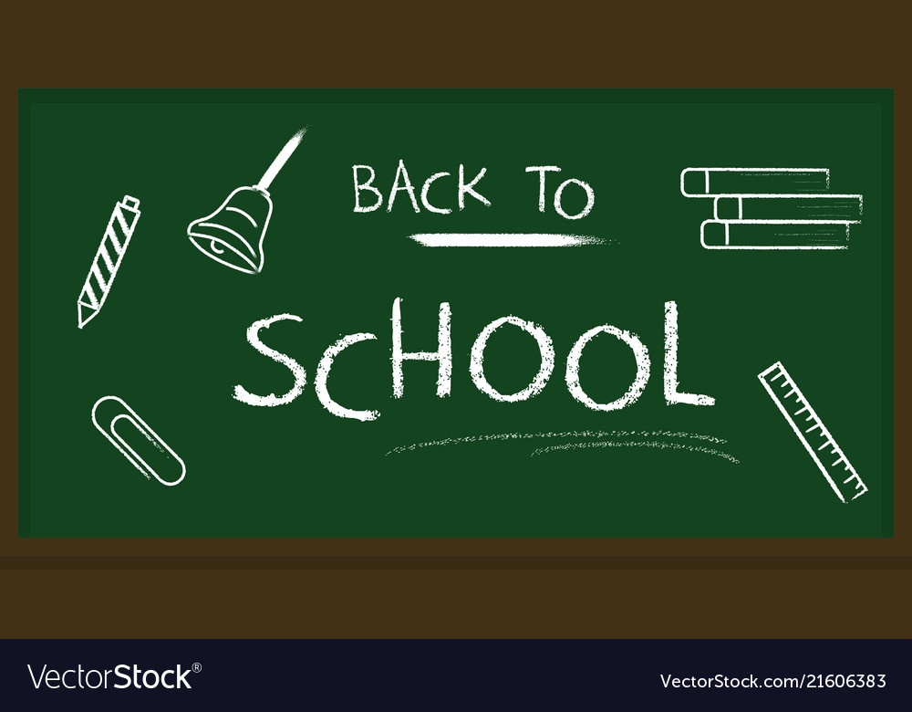 Blackboard banner back to school chalk text